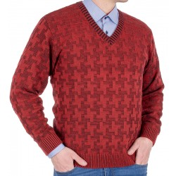 Sweter Kings 18S*67706 bordowy 52 w szpic ze wzorem r. M L XL 2XL 3XL