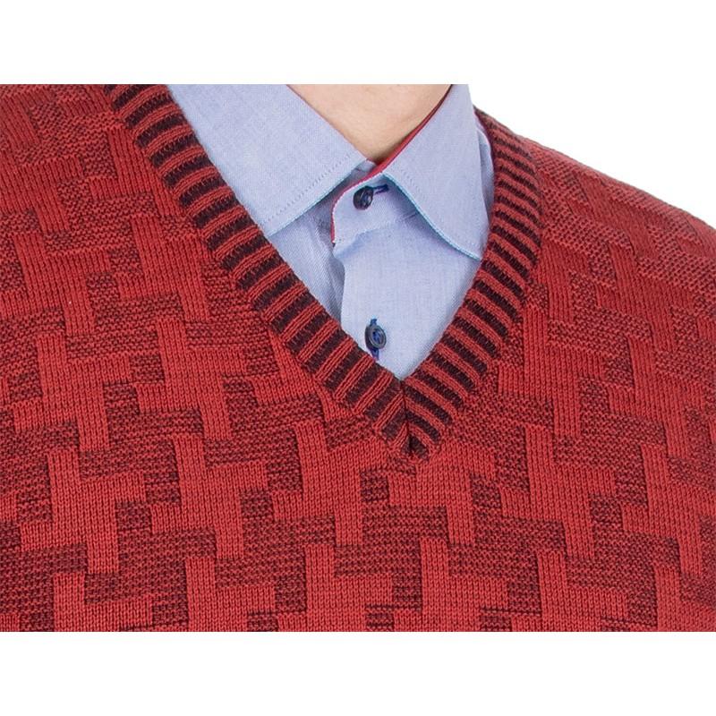 Sweter Kings 18S*67706 bordowy 52 w szpic ze wzorem