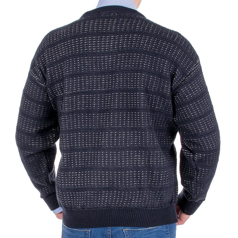Granatowy sweter Kings 100*103507 u-neck ze wzorem w pasy