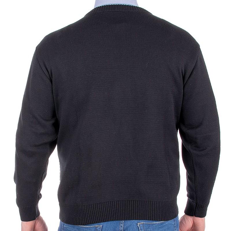 Czarny sweter Kings 108*111507 ze wzorem - u-neck