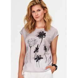 bluzka w kwiatki na lato Feria FF54-2-23 szara rozmiar 38 40 42 44 46