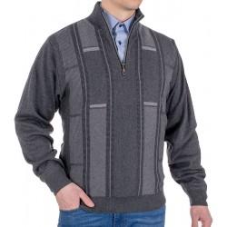 Sweter Kings 10T*542526 z krótkim zamkiem anthrazit r. M L XL 2XL 3XL