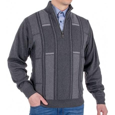 Sweter Kings 10T*542526 z krótkim zamkiem anthrazit 305/355/340