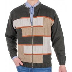 Sweter na zamek Kings 18X*6540727 zielony ze wzorem r. M L XL 2XL 3XL
