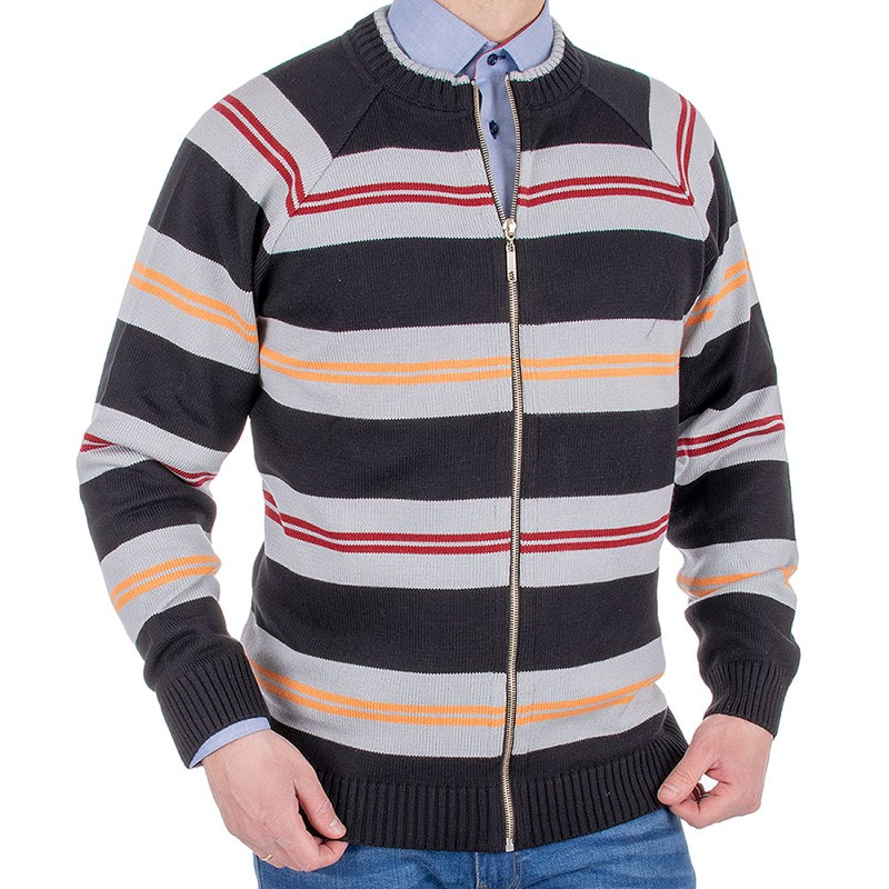 Sweter na zamek Kings 18X*6630727 czarny ze wzorem