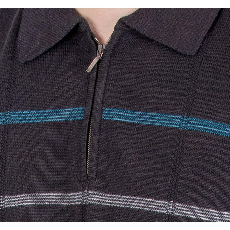 Sweter polo z zamkiem Kings 1C*598116 Elkjaer czarny 110
