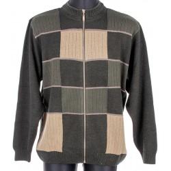 Sweter na zamek Kings 18X*6900727 zielony ze wzorem r. M L XL 2XL 3XL