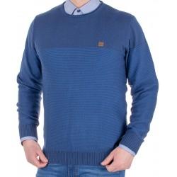 Sweter u-neck Jordi J-64 granatowo-niebieski