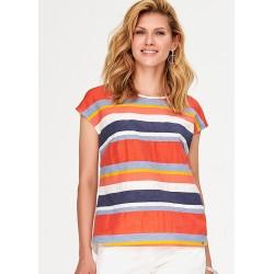 bluzka letnia w paski Feria FF05-2-22 pomarańczowa rozmiar 38 40 46