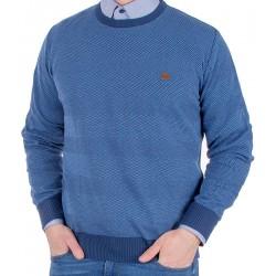 Sweter Jordi J-63 niebieski w paski u-neck pod szyję M L XL 2XL 3XL