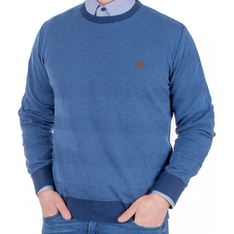 Sweter Jordi J-63 niebieski w pasy u-neck pod szyję
