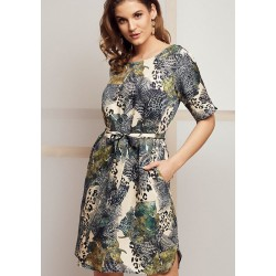 sukienka damska Kaskada Elea wzór granatowy rozmiar 36 38 40 42 44 46