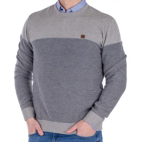 Sweter u-neck Jordi J-64 szaro-niebieski