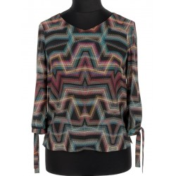 bluzka Sunwear V100-5-05 rękaw wiązany multikolor zygzaki czarna