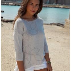 bluzka sweterkowa damska Immagine 2805 jasnopopielata rozmiar 40 42 44