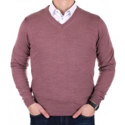 Sweter bawełniany Adriano Guinari w szpic - wrzosowy, brudny róż