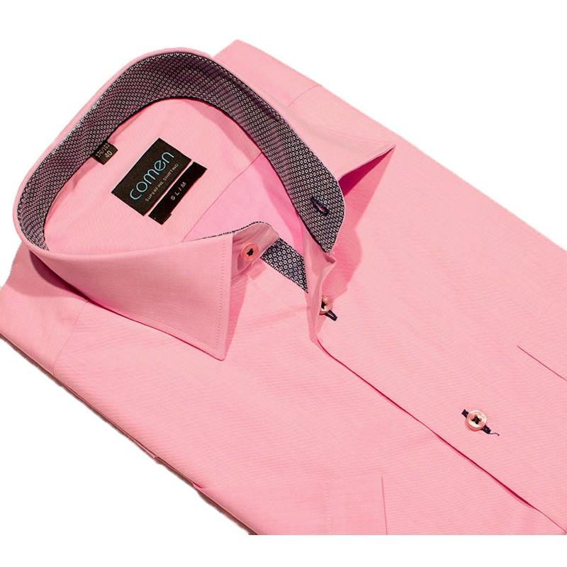 Koszula z krótkim rękawem Comen różowa - slim