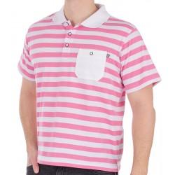 Koszulka polo Kings 333*7444-38365K białoróżowe paski M L XL 2XL 3XL