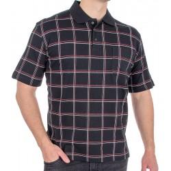 Czarna koszulka polo w kratkę Kings 31D*504 - krótki rękaw M L XL 2XL