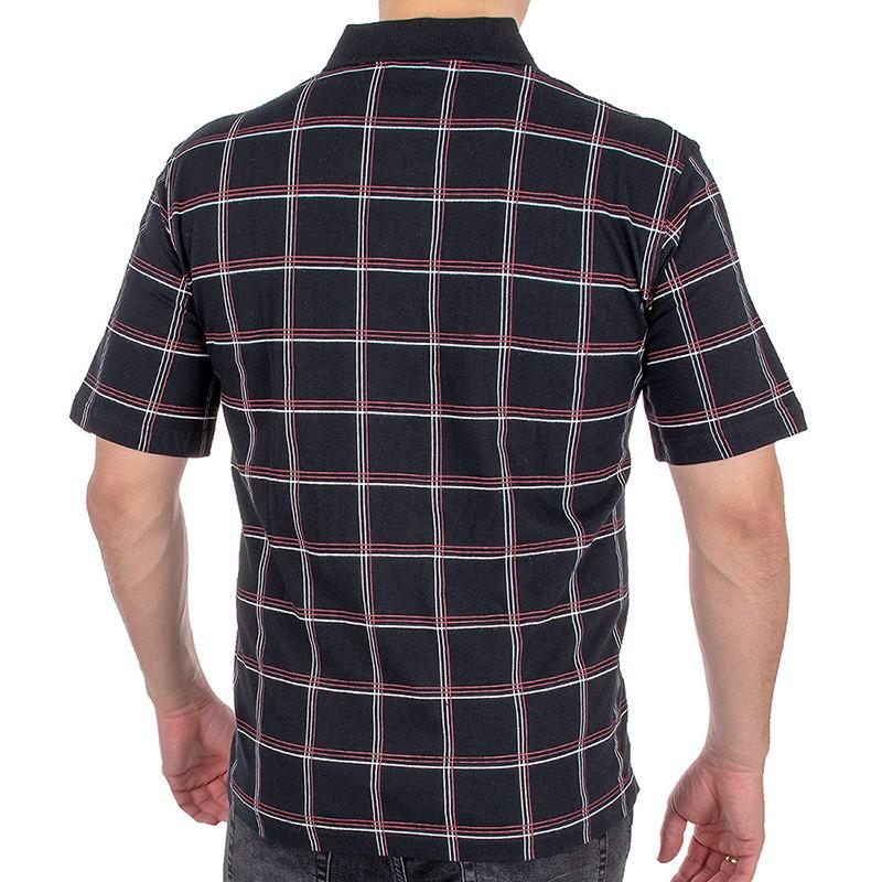 Czarna koszulka polo w kratkę Kings 31D*504 - krótki rękaw