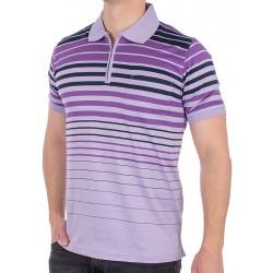 Fioletowa koszulka polo w paski Kings 100-2007 5219 z zamkiem