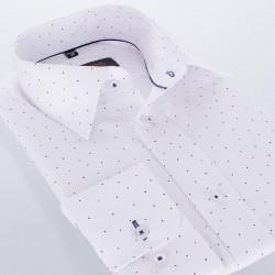 Biała koszula wzorek Comen dł. rękaw slim 38 39 40 41 42 43 44 45 46