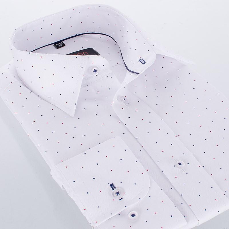 Biała koszula ze wzorkiem Comen z długim rękawem - slim