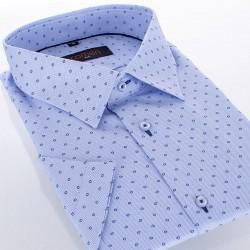 Niebieska koszula krótki rękaw Comen slim - drobny wzór