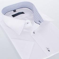 Biała koszula Comen gładka kr. rękaw slim 38 39 40 41 42 43 44 45 46
