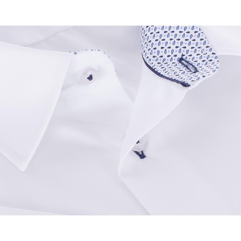 Biała koszula krótki rękaw Comen gładka -slim