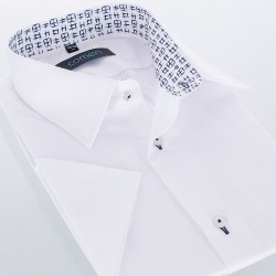 Niezwężana biała koszula krótki rękaw Comen z wykończeniem 40 41 42 43