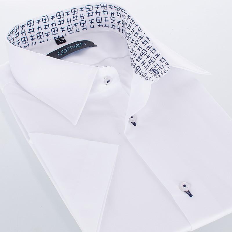 Biała koszula krótki rękaw Comen z wykończeniem - regular