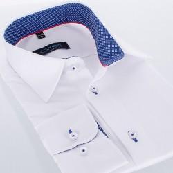 Biała koszula Comen z długim rękawem slim - granatowe wykończenie kołnierza
