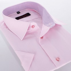 Koszula krótki rękaw Comen slim różowa roz. 39 40 41 42 43 44 45 46