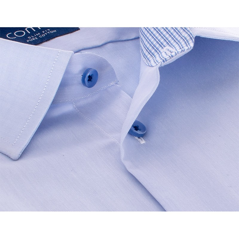 Koszula z długim rękawem Comen - niebieska slim 100% bawełna