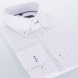 Biała koszula Comen z długim rękawem slim wzór 39 40 41 42 43 44 45 46