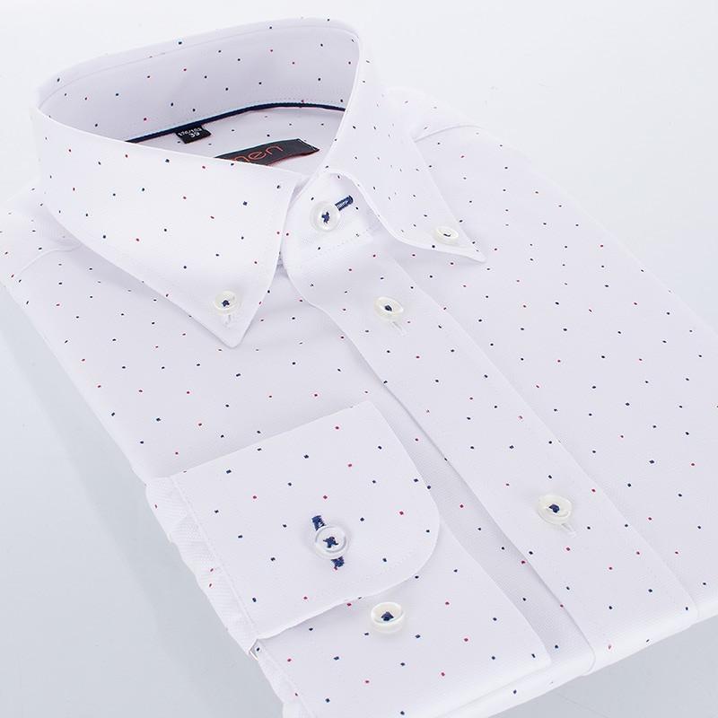 Biała koszula Comen z długim rękawem slim - kropki