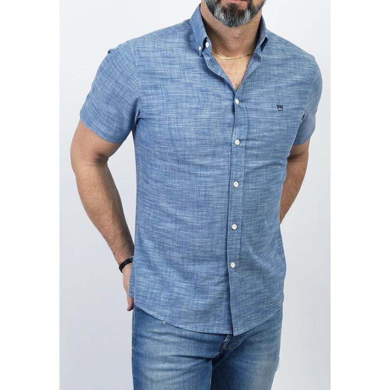 Niebieska koszula Pako PJKR 2 Lint z kr. rękawem