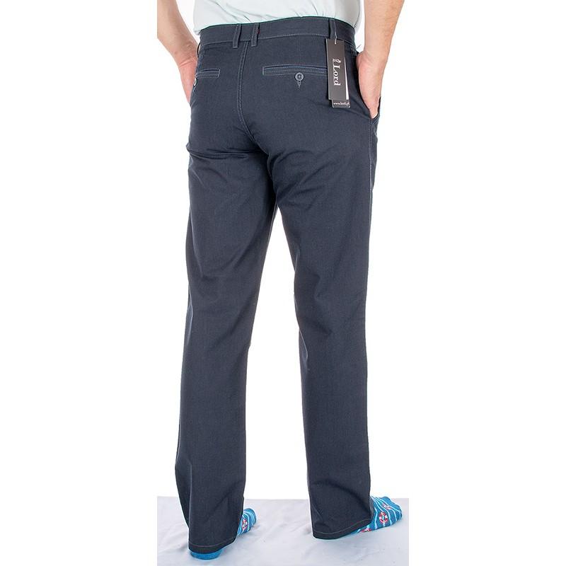 Granatowe bawełniane spodnie niezwężane Lord R-12