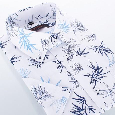 Biała koszula ze wzorem Comen slim - kr. rękaw