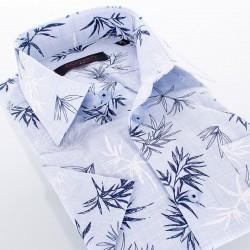 Błękitna koszula kr. rękaw Comen liście bambus 38 39 40 41 42 43 44 45
