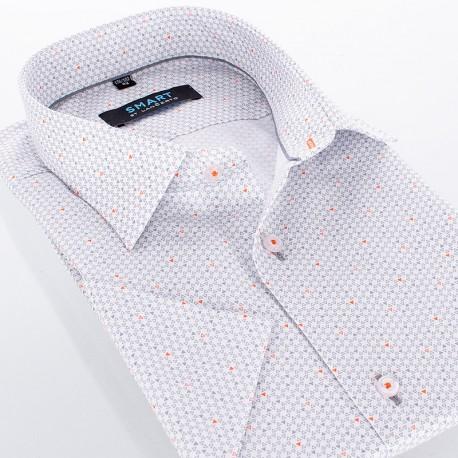Popielata koszula Comen ze wzorem w trójkąty - krótki rękaw