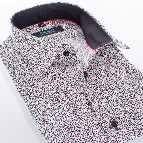 Koszula Comen z krótkim rękawem z mocnym ciemnym wzorem - slim