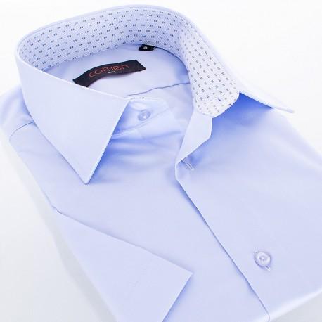 Błękitna koszula Comen - gładka kr. rękaw slim