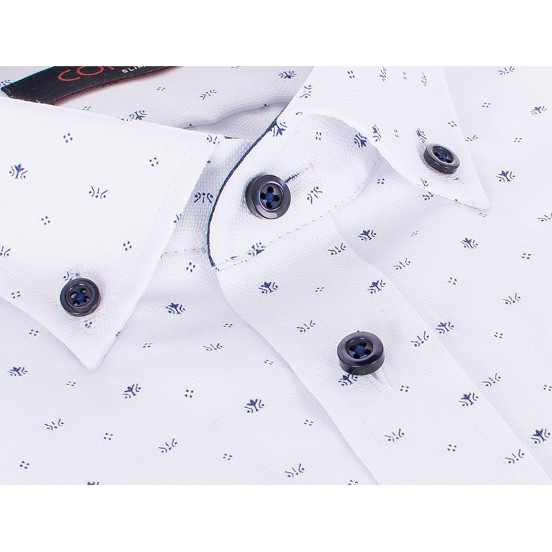 Biała koszula z drobnym wzorem Comen krótki rękaw - slim