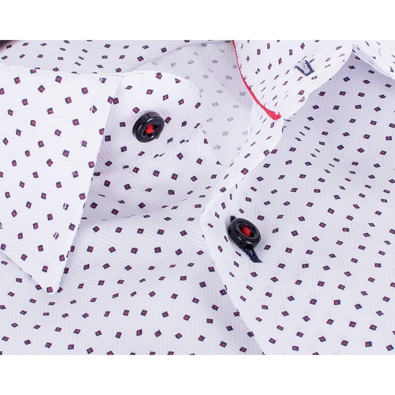 Koszula Comen z krótkim rękawem - biała ze wzorem w czerwone kwadraty