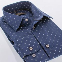 Granatowa koszula Comen ze wzorem w gwiazdki - slim