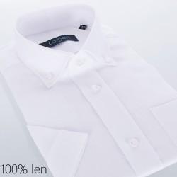 Biała lniana koszula Comen kr. rękaw slim