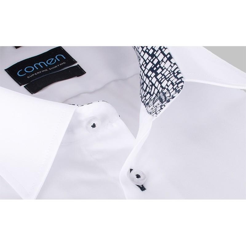 Koszula Comen regular długi rękaw - biała z wykończeniem