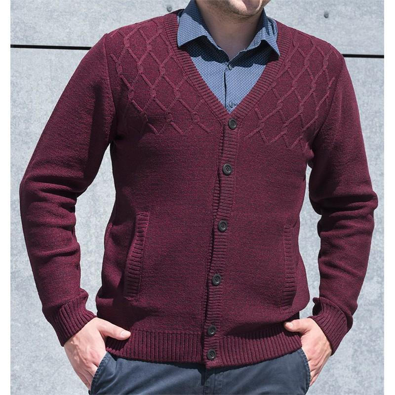 Rozpinany na guziki sweter Lasota Leon kardigan śliwkowy